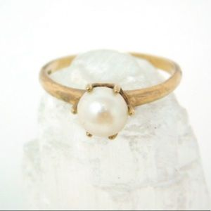 14K gold genuine cultured pearl ring Sz 4.75
